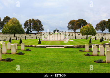 War grave headstones in Cabaret Rouge British cemetery for First World War Commonwealth soldiers. Souchez, France, - Stock Photo