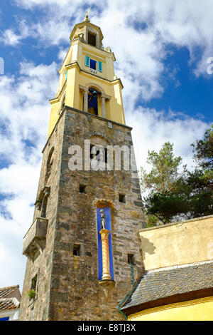 PORTMEIRION, NORTH WALES - SEPTEMBER 7TH: 'The Campanile' bell tower, on 7TH September 2014 in Portmeirion, North - Stock Photo