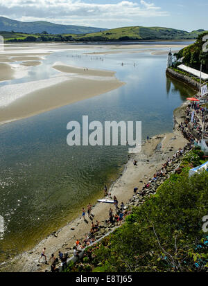 Paddle Boarders (courtesy of Volvo cars sponsorship) on the estuary, on 7TH September 2014, Portmeirion, North Wales. - Stock Photo