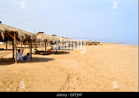 Row of thatched sunshades along sandy beach, Red Sea, Egypt - Stock Photo