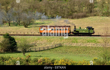 Class J72 0-6-0 tank locomotive No 69023 Joem hauling the 'Old Gentleman's Saloon' on the North Yorkshire Moors - Stock Photo