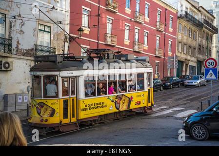 Tram No 28, Cacada de Sao Vicente, Alfama, Lisbon, Portugal - Stock Photo