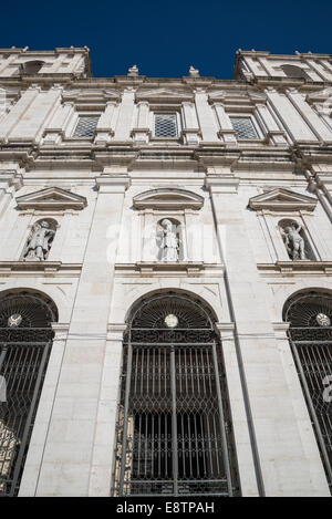 Main facade of Church and Monastery of St. Vincent Outside the Walls, Sao Vicente de Fora, Lisbon, Portugal - Stock Photo