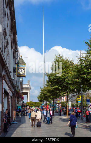 O'Connell Street looking towards the Spire, Dublin City, Republic of Ireland - Stock Photo