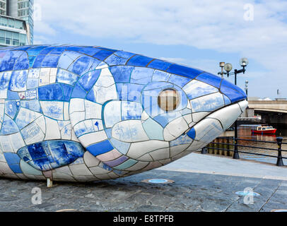 The Big Fish sculpture by John Kindness, Donegall Quay, River Lagan, Belfast, Northern Ireland, UK - Stock Photo