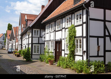 Half-timbered houses in the historic town, Rheda, Rheda-Wiedenbrueck, Germany, Europe - Stock Photo