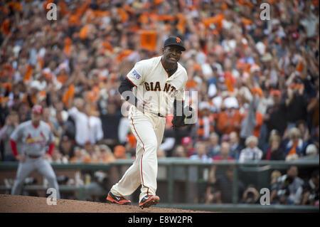 San Francisco, CA, USA. 14th October, 2014. San Francisco Giants relief pitcher Santiago Casilla (46) reacts after - Stock Photo