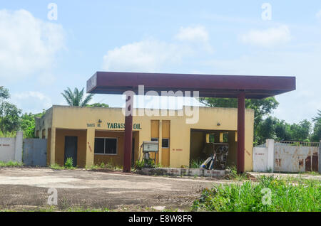 An abandoned gas station in south-west Nigeria, Ogun state - Stock Photo