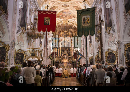 Holy mass on the day of the Corpus Christi procession in Martinsmünster Church, Fischbachau, Upper Bavaria, Bavaria, - Stock Photo