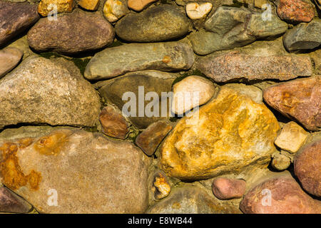 Stone wall of natural stones in different sizes, rustic stone veneer ...
