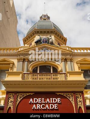 The exterior of the elegant Adelaide Arcade in Rundle Mall Australia - Stock Photo