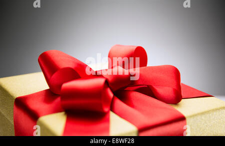 Close up of bow on wrapped gift - Stock Photo