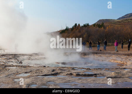 Iceland's Great Geysir rests before the next eruption - Stock Photo