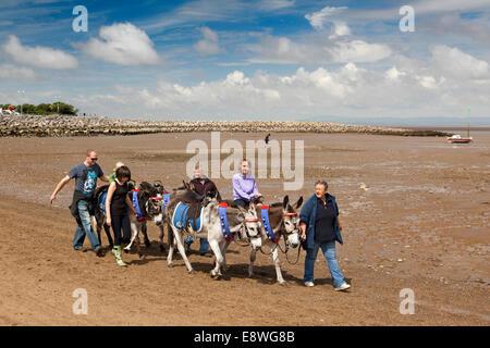 UK, England, Lancashire, Morecambe, sandcastle festival, donkey rides on the beach - Stock Photo