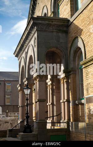 UK, England, Lancashire, Morecambe, Green Street, Wesleyan Methodist Church portico - Stock Photo