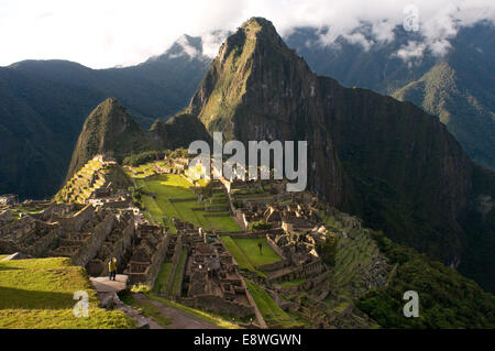 View of the Machu Picchu landscape. Machu Picchu is a city located high in the Andes Mountains in modern Peru. It - Stock Photo