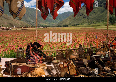 Pisac Sunday market day. Pisac. Sacred Valley. Pisac, or Pisaq in Quechua, is a small town about 35 km from Cuzco. - Stock Photo