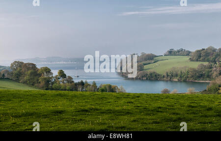 Trelissick garden, Feock, Truro, Cornwall, UK. The fine view from the house down the estuary of the River Fal to - Stock Photo