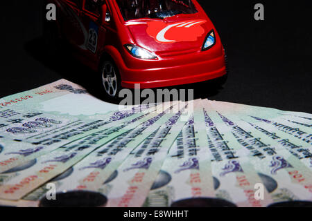 indian Currency with car - Stock Photo