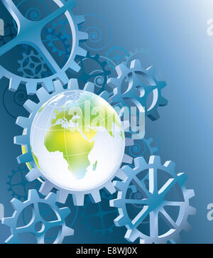 Earth in blue space machinery with cogwheels - Stock Photo