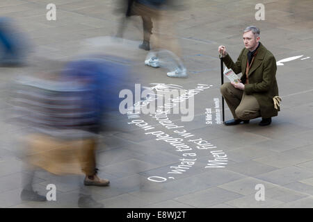 Edinburgh, Scotland, UK. 14th October, 2014. Quotes from Sir Walter Scott's first published novel 'Waverley' are - Stock Photo