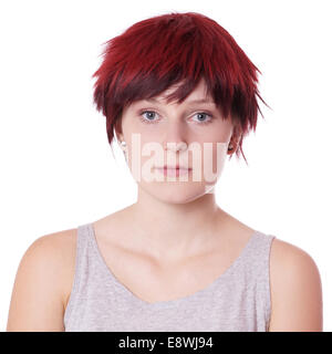 young woman with short red hair - Stock Photo