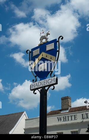 Hadleigh Town sign, Suffolk, England, UK - Stock Photo