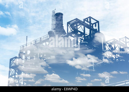 duble exposure factory refinery and blue sky - Stock Photo