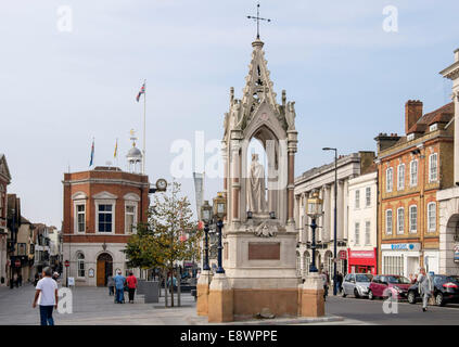 19th century Queen Victoria Monument 1862 and 18th century Town Hall in High Street, Maidstone Kent England UK Britain - Stock Photo