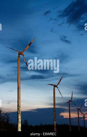 old wind turbine innovation power background - Stock Photo