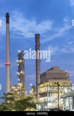 oil refinery industrial at sunset - Stock Photo