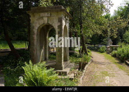 Old Grave, Highgate Cemetery West, Highgate, London, N6, England - Stock Photo