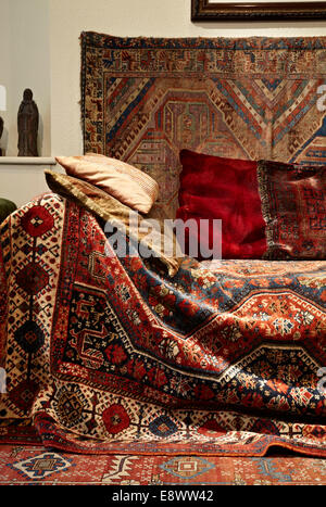Tapestry seating in the Freud Museum at 20 Maresfield Gardens, Hampstead, London, UK. Permission needed from Freud - Stock Photo
