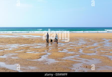 A couple walking a dog on Penhale beach Cornwall England uk - Stock Photo