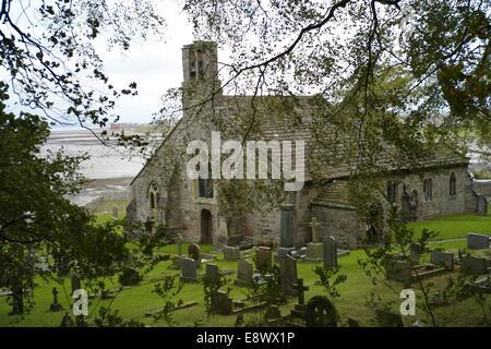 St Peter's Church, Heysham, is located in the village of Heysham - Stock Photo