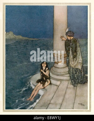 Little Mermaid - Edmund Dulac (1882-1953) illustration from 'Stories from Hans Andersen'. See description for more - Stock Photo