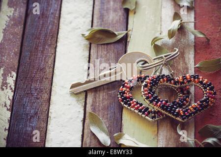 love key on wood background - Stock Photo