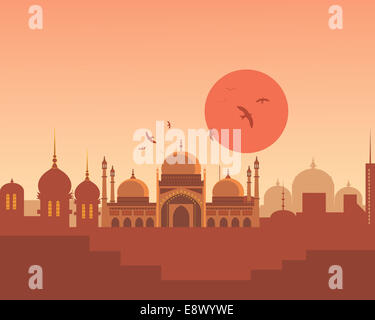 An abstract illustration of an Asian skyline with beautiful Indian architecture bathed in an orange sunset - Stock Photo