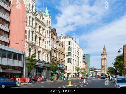 View down High Street towards the Albert Memorial Clock in Queens Square, Belfast, Northern Ireland, UK - Stock Photo