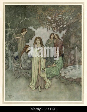 The Garden of Paradise - Edmund Dulac illustration from 'Stories from Hans Andersen'. See description for more information. - Stock Photo