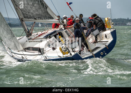 GBR9383R Kabectah sailing yacht racing at the Cowes Week Regatta in the Solent off the South Coast of England - Stock Photo