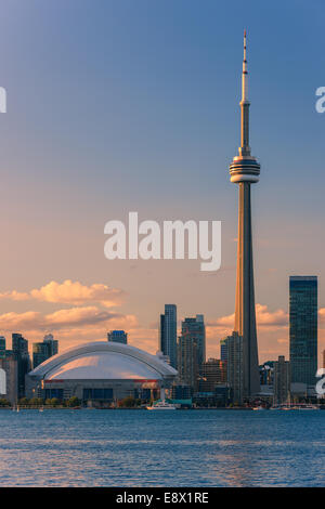 Famous Toronto Skyline with the CN Tower and Rogers Centre taken from the Toronto Islands. - Stock Photo