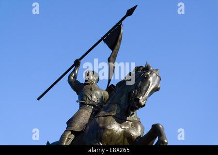 Statue of Rodrigo Díaz de Vivar El Cid Campeador sculpted by Anna Hyatt Vaugh Huntington in Seville, Andalusia, - Stock Photo