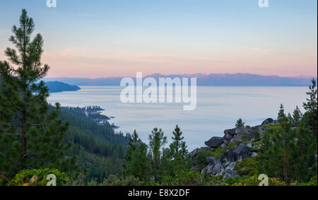 Early morning, pastel light on the Tahoe Rim.  Copy space on the top half of frame. - Stock Photo