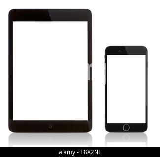 iPad Mini and iPhone 6 on white. Blank screen on the iPhone 6 and iPad. - Stock Photo