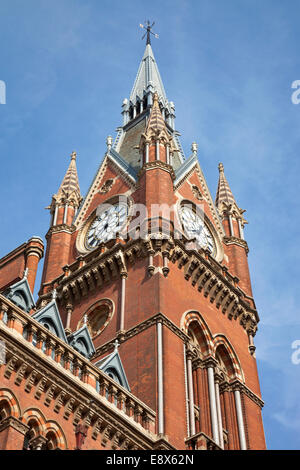 Clock Tower of St Pancras Station and Renaissance Marriott Hotel - Stock Photo