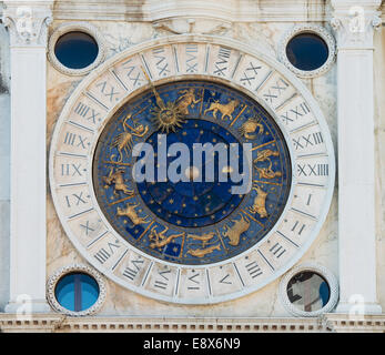Astronomical Clock Tower (Torre dell'Orologio) at St. Mark's Square (Piazza San Marko), Venice, Italy - Stock Photo
