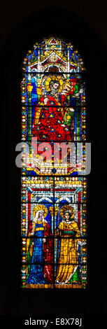 FLORENCE, ITALY - SEPTEMBER 15, 2014: Stained glass inside of the Basilica di Santa Maria del Fiore, Florence, Italy - Stock Photo