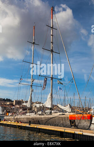 Sailing Vessel Tara tied up in the Vieux Port of Marseille, France - Stock Photo