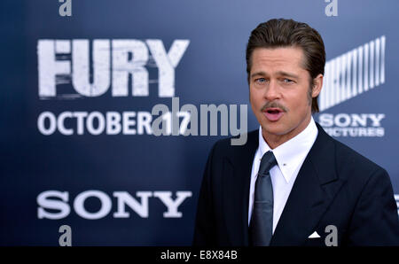 Washington, DC, USA. 15th Oct, 2014. Actor Brad Pitt attends the world premiere for his new movie 'Fury' in Washington, - Stock Photo